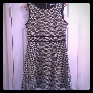 NY&Co Fit & Flare Dress w/ Faux Leather Trim